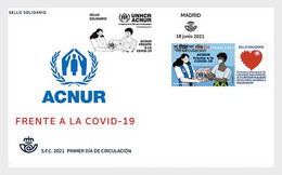 Spain Spanien MNH ** 2021 UNHCR Against Covid-19 FDC - 2011-2020 Unused Stamps