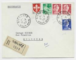 MULLER 25FRX2+20FR+ N°1115+1186 LETTRE REC SIERENTZ 10.9.1959 HAUT RHIN POUR MULHOUSE AU TARIF - 1955- Marianne (Muller)