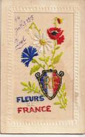 CPA Brodée Patriotique : Fleurs De France - Embroidered