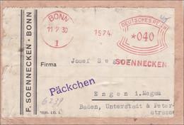 Freistempel: Soennecken Bonn Als Päckchen Auf Ausschnitt Nach Engen 1930 - Zonder Classificatie