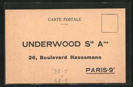Künstler-AK Paris, Underwood Ste Ame, 26, Boulevard Haussmann, Reklame Für Schreibmaschine Portative - Publicité