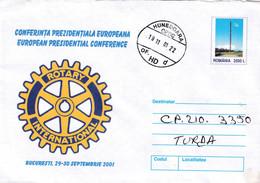 A9652- EUROPEAN PRESIDENTIAL CONFERENCE BUCHAREST 2001 ROTARY INTERNATIONAL ROMANIA COVER STATIONERY, HUNEDOARA 2001 - Postal Stationery