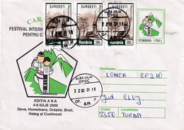 A9657- CARPATICA FOLKLORE FESTIVAL EVENT 2000, ROMANIA COVER STATIONERY, USED STAMPS - ALBA IULIA 2001 SENT TO TURDA - Postal Stationery