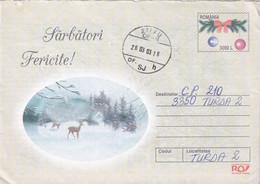 A9658- HAPPY HOLIDAY GREETINGS, WINTER DEARS ANIMALS, ROMANIAN COVER STATIONERY, ZALAU 2003 SENT TO TURDA CLUJ - Postal Stationery