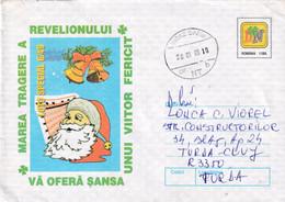 A9662- HAPPY HOLIDAY GREETINGS, NEW YEAR SANTA CLAUS LOTTERY ROMANIA COVER STATIONERY, SICAZ 1999 SENT TO TURDA CLUJ - Postal Stationery