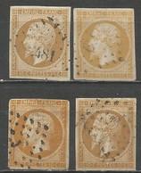 France - Napoléon III - N° 13A - Nuances De Couleurs : Bistre, Bistre-jaune, Bistre-orange, Bistre-brun - 1853-1860 Napoleone III