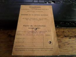 Carte De Circulation  Temporaire   De Heer -Agimont A Givet Par Le Chemin De Fer Nord Belge En 1940 - Historische Documenten