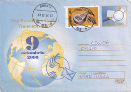 A9670- WORLD POST DAY TIMISOARA 2003, USED STAMPS ON COVER,BOGATA 2004 ROMANIA COVER STATIONERY - Postal Stationery