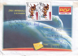A9671- WORLD POST DAY 2001, USED STAMPS ON COVER,TULCEA 2001 SENT TO TURDA,  ROMANIA COVER STATIONERY - Postal Stationery