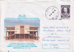 A9673- LIBRARY BUILDING CONSTANTA CITY 1999 EXHIBITION, BECLEAN 1999 ALEXANDER JOHN CUZA ROMANIA COVER STATIONERY - Postal Stationery