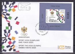 MONTENEGRO 2021,SUMMER OLYMPIC GAMES,TOKYO,SPORT,BLOCK,FDC - Montenegro