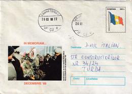 A9674- ROMANIAN REVOLUTION 1989 MEMORIES, ROMANIA COVER STATIONERY, CAMPIA TURZII 1998 - Postal Stationery