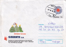 A9675- HAPPY HOLIDAYS GREETINGS INSURANCE SOCIETY ROMANIA COVER STATIONERY, DEJ 1999 SENT TO TURDA - Postal Stationery