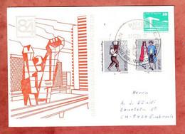 PP Palast Der Republik Berlin + ZF, Philatelistenverband Im Kulturbund, Halle Nach Embrach Schweiz 1984 (4771) - Privatpostkarten - Gebraucht