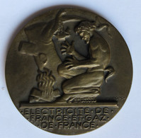 Médaille En Bronze Electricité De France Et Gaz De France EDF GDF 20 Ans De Service Signée H. Dropsy - Andere