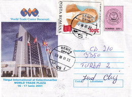 A9688-WORLD TRADE PLAZA CENTER BUCHAREST 2001, RESITA USED STAMPS ON COVER 2001 ROMANIA COVER STATIONERY - Postal Stationery