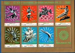 2106.2180 Yemen 1971 Olympic Sumer Games München Sheetlet MNH Athletics, Horse Jump, Shooting, Rowing - Unclassified