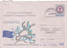 A9689- ACADEMIE EUROPEENE DE PHILATELIE ROMANIA 1977-2002, BUCHAREST 2003 ROMANIA COVER STATIONERY - Postal Stationery