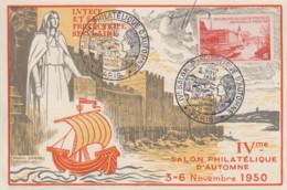 Carte   FRANCE   IVéme    Salon  Philatélique   D'  Automne    PARIS   1950 - Commemorative Postmarks