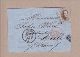 Belgique - COB 14 Obl. Losanges à Points 141 Gand Vers Lille - 1866 - 1863-1864 Medaillons (13/16)