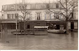 95 Val D Oise Bezons Fleuve Riviere Commerce Devanture Laval Commerce Phamarcie Clauzet Barque Animée - Bezons