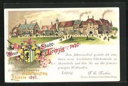 Lithographie Leipzig, Sächs.-Thür. Industrie & Gewerbe-Ausstellung 1897, Stadtansicht Im Jahre 1497 - Exhibitions