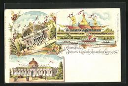 Lithographie Leipzig, Sächs.-Thür. Industrie Und Gewerbe-Ausstellung 1897, Binderei-Halle, Offenes Theater - Exhibitions