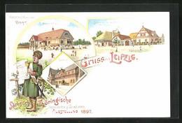 Lithographie Leipzig, Sächs.-Thür. Industrie Und Gewerbe-Ausstellung 1897, Gemeindehaus, Gasthof, Schmiede - Exhibitions