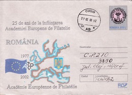 A9706- 25TH ANNIVERSARY OF EUROPEAN PHYLATELIC ACADEMY 1977-2002, CUGIR 2003 ROMANIA COVER STATIONERY - Postal Stationery
