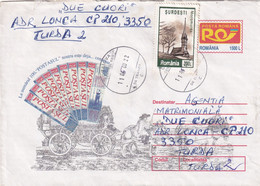 A9707- POSTMAN ON THE HORSE, MARAMURES CHURCH USED STAMP ON COVER,CRAIOVA 2000 ROMANIA COVER STATIONERY - Postal Stationery