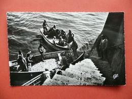 CPSM  ARRIVEE DES SARDINES  ANIMEE PECHEURS    VOYAGEE 1959 TIMBRE FLAMME LES SABLES D'OLONNE - Sables D'Olonne