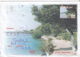 A9713- THE DANUBE CLIFF GALATI CITY, SENT TO TURDA CLUJ 2002 ROMANIA COVER STATIONERY - Postal Stationery