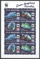 NW0550 2015 MALDIVES WWF GREEN HUMPHEAD PARROTFISH #6200-6203 KB(2SET) MNH - Unused Stamps