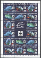 NW0551 2015 MALDIVES WWF GREEN HUMPHEAD PARROTFISH #6200-6203 FULL SH(4SET) MNH - Unused Stamps