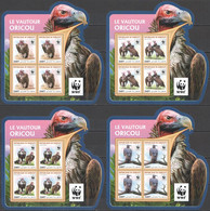 NW0587 2016 DJIBOUTI WWF VULTURES BIRDS OF PREY #1319-1322 4KB(4SET) MNH - Unused Stamps