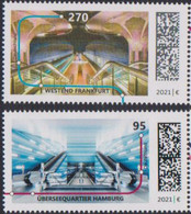 GERMANY, 2021, MNH, TRAIN STATIONS, ÜBERSEEQUARTIER HAMBURG, WESTEND FRANKFURT, U-BAHN STATIONS, 2v - Trains