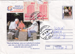 A9733- INTERNATIONAL YEAR OF OLD PEOPLE, PLAYING CHESS IN THE PARK, USED STAMPS BISTRITA 1999  ROMANIA COVER STATIONERY - Postal Stationery