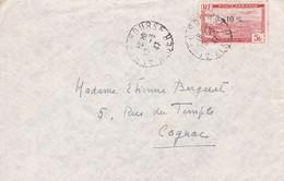 Algérie - Y&T PA 1A Sur Lettre Obl. Alger Bourse - Vers Cognac - 1947 - Luchtpost
