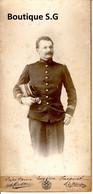 Photo Personne Homme Militaire Uniforme Portrait Kepi Capitaine Eugene Jacquet Studio A Mischkine Roubaix 21x10cm - Personas Identificadas