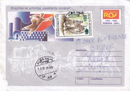 A9739- ROMANIAN POSTAGE, KITTENS USED STAMP ON COVER, ALBA IULIA 2001 ROMANIA COVER STATIONERY - Postal Stationery