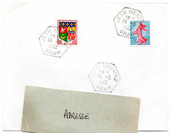 ALGERIE  1962 = JEAN MERMOZ / ORAN = CACHET HEXAGONAL Pointillé F8 D'agence Postale Sur Timbres Français - Brieven En Documenten
