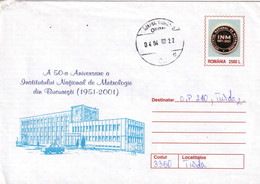 A9747- NATIONAL INSTITUTE OF METROLOGY BUCHAREST 1951-2001, CAMPIA TURZII 2002 ROMANIA COVER STATIONERY - Postal Stationery