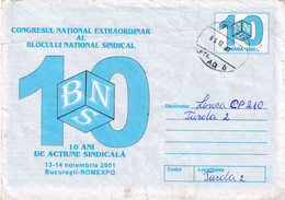 A9750-  NATIONAL CONGRESS OF THE NATIONAL TRADE UNION BLOCK BUCHAREST ROMEXPO 2001 ROMANIA COVER STATIONERY - Postal Stationery