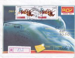 A9751-  WORLD POST DAY, REGISTRED LETTER BAIA MARE 2001 USED STAMPS ON COVER, ROMANIA COVER STATIONERY - Postal Stationery