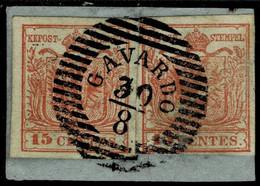 "(1850) Lomb. Ven. 15 C. , Luxus "" GAVARDO ""   , A5045 (2) - Used Stamps"