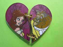 Pin's BD Disney Coeur La Belle Et La Bête (Double Moule) - 3O30 - Disney