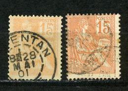 FRANCE - MOUCHON 15c - N° Yvert 117 Obl.  2 TEINTES - 1900-02 Mouchon