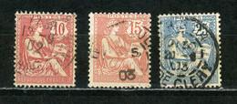 FRANCE - MOUCHON  - N° Yvert 124+125+127 Obl. - 1900-02 Mouchon