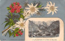Italie - Courmayeur Et La Chaîne Du Mont Blanc (gaufrée, Relief, Colorisée, Fond Argenté) - Otras Ciudades