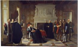 RÉPLICA Lámina Carlos V Recibe En Monasterio De Yuste A San Francisco De Borja. Joaquín María Herrer Y Rodríguez - Zonder Classificatie
